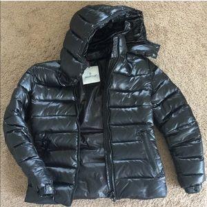 Moncler women's black shiny puffy jacket